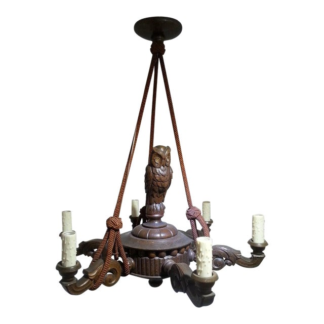 Antique 1920s Black Forest Style Chandelier With Owl For Sale