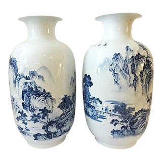 Blue & White Hand-Painted Landscape Vases - a Pair For Sale