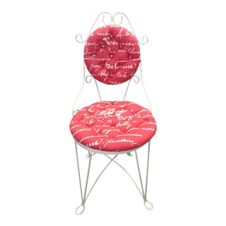 Pink & White Iron Vanity Chair For Sale