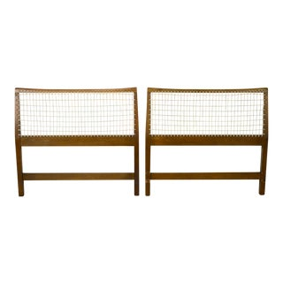 Mid-Century Modern Woven Vinyl Cord Back Twin Headboards - A Pair For Sale