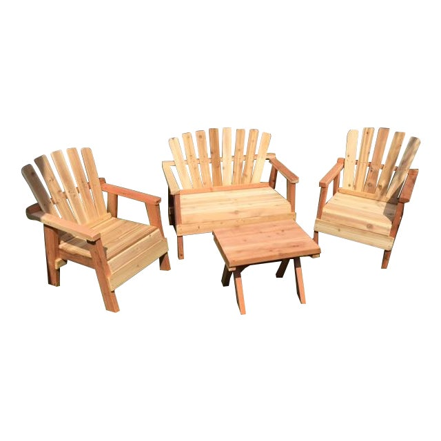 Natural Redwood Patio Set - Set of 4 - Image 1 of 11