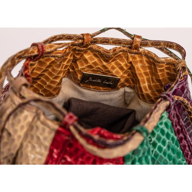 Leather 1980s Judith Leiber Multicolored Snakeskin Beach Ball Shoulder Bag For Sale - Image 7 of 8