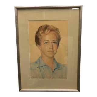 1939 Large Original Signed Vintage Young Boy Framed Portrait Painting For Sale