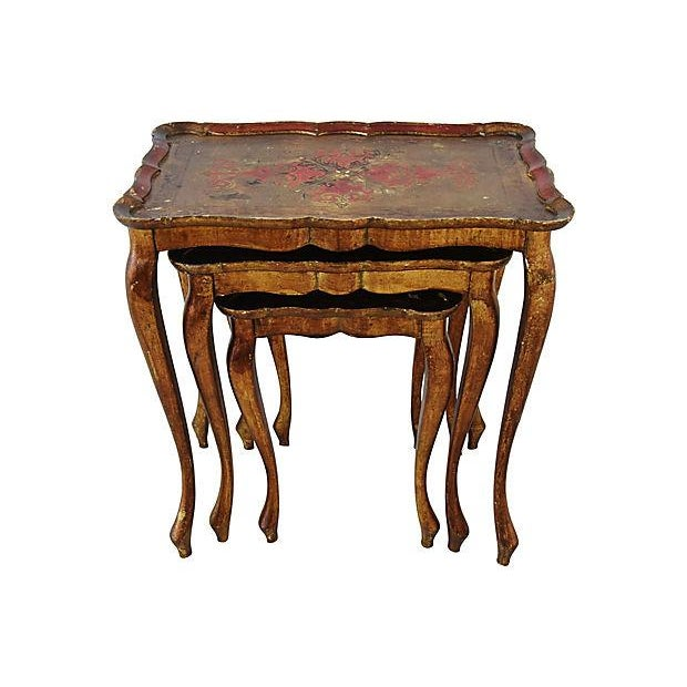 Red 1950s Italian Venetian Florentine Nesting Tables - Set of Three For Sale - Image 8 of 13