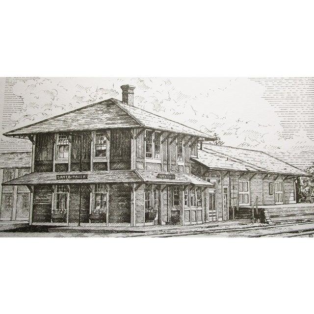 Illustration Train Station Ventura County Southern California Santa Paula Depot Limited Edition Print by Timothy Gaussiran 41/250 For Sale - Image 3 of 9