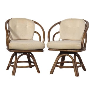 Brown Jordon Bamboo Rattan Swivel Chairs - a Pair For Sale