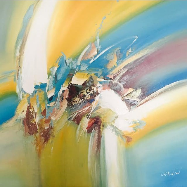 Yellow & Blue Modern Abstract Painting - Image 1 of 5