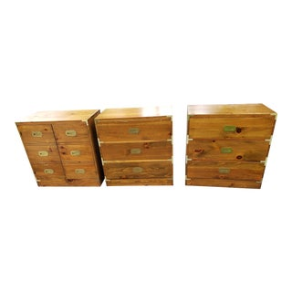 Mid Century Campaign Solid Pine Bachelor Chests - Set of 3 For Sale