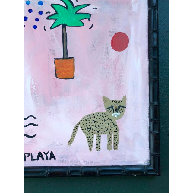 Abstract Original Pink and Orange Jungle Painting in Bamboo Frame For Sale - Image 3 of 5