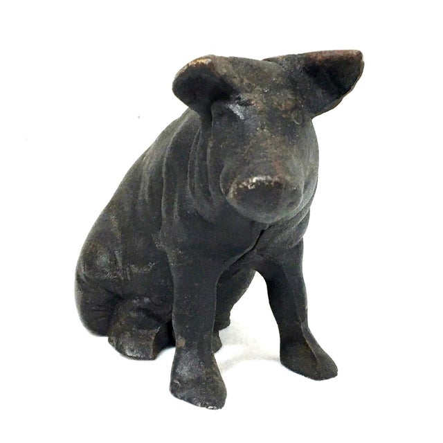 19th Century Black Painted Patinated Cast Iron Pig Bank Door Stop For Sale In New York - Image 6 of 7
