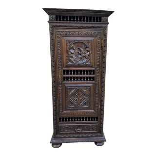 Antique Breton French Armoire With Drawer Cabinet For Sale