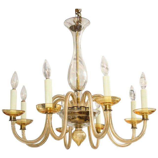 Amber Eight-Arm Murano Glass Chandelier For Sale