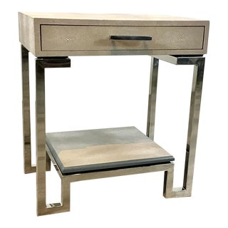 Regina Andrew Modern Gray Faux Shagreen End Table For Sale