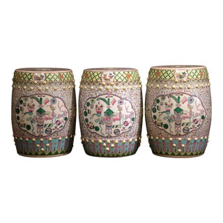 Set of Three Mid-20th Century Chinese Famille Rose Porcelain Garden Seats For Sale