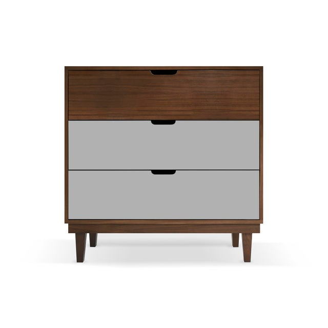 Contemporary Kabano Modern Kids 3-Drawer Dresser in Walnut With Gray Finish For Sale - Image 3 of 3
