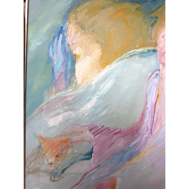 """Canvas 1970s Vintage Suzanne Peters """"Night Visitor"""" Pastel Oil on Canvas Painting For Sale - Image 7 of 12"""