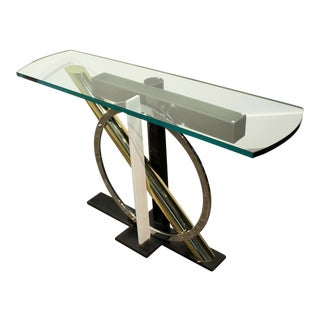 1980s Geometric Metal and Glass Console Table by Kaizo Oto for Dia For Sale