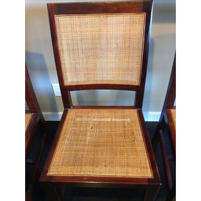 Crate & Barrel Cane Dining Chairs - Set of 4 - Image 6 of 9