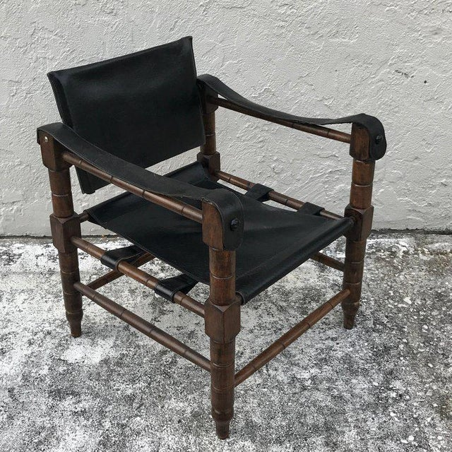 Mid 20th Century Pair of Syrian Leather Campaign / Safari Chairs For Sale - Image 5 of 12