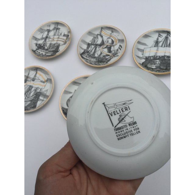 Vintage Piero Fornasetti Tall Ship Coasters with Original Box. Velieri Pattern. Made exclusively for Bonwit Teller in the...