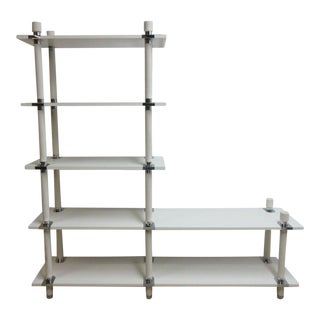 Vintage Mid-Century White Chrome Bookshelf For Sale