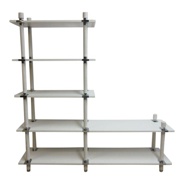 Vintage Mid Century White Chrome Bookshelf