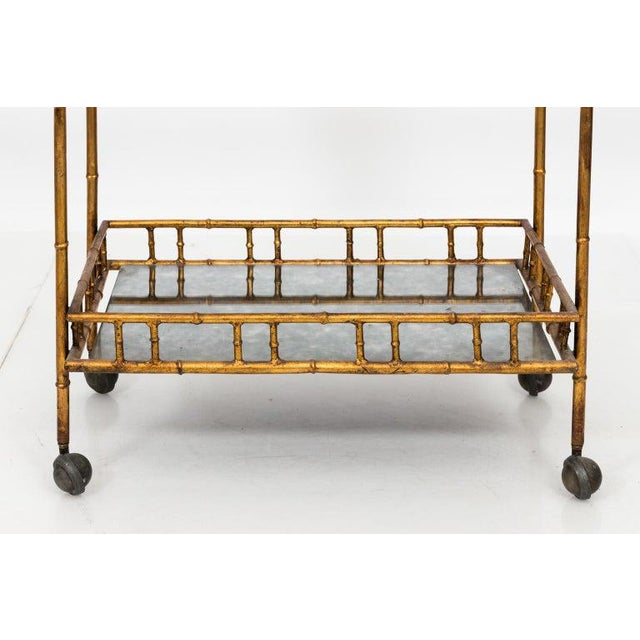 Glass 1950s Hollywood Regency Faux Bamboo Bar Cart For Sale - Image 7 of 8
