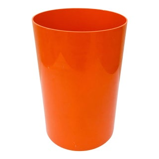 1966 Vintage Mid-Century Gino Colombini for Kartell Orange Wastebasket For Sale