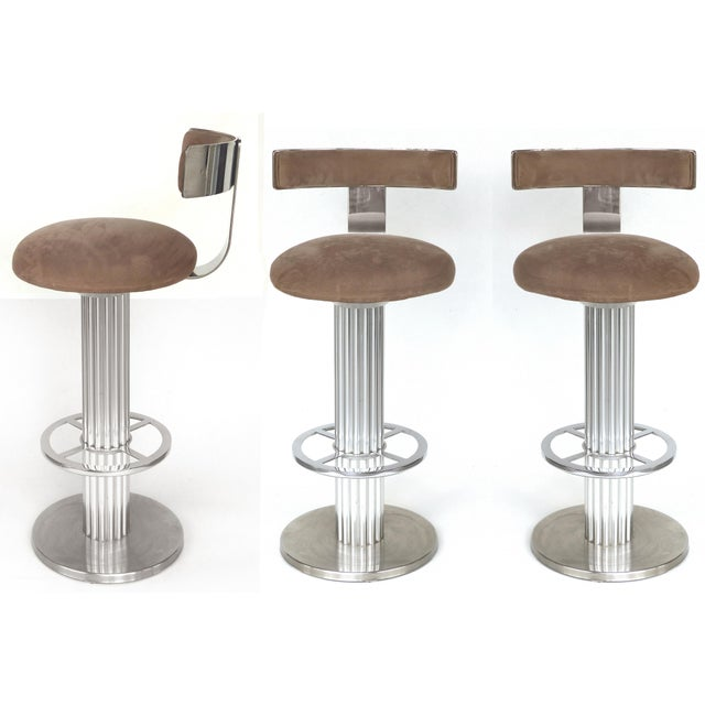Designs for Leisure Brushed Stainless Steel Bar Stools 1980s- Set of 3 For Sale - Image 13 of 13