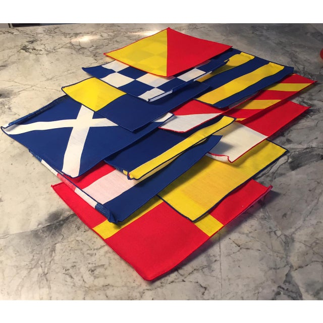 1950's Nautical Signal Flag Cocktail Napkins - Set of 12 For Sale - Image 5 of 5