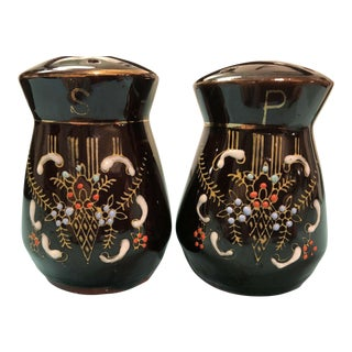 1940s Vintage Moriage Redware Salt & Pepper Set Glazed Beaded Pottery - a Pair For Sale