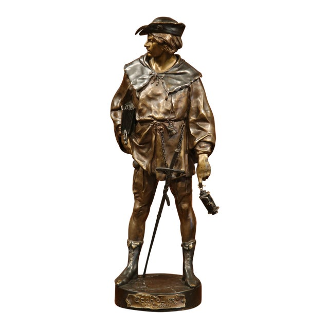 """19th Century French Patinated Bronze Figure """"L'escholier"""" Signed Emile Picault For Sale"""