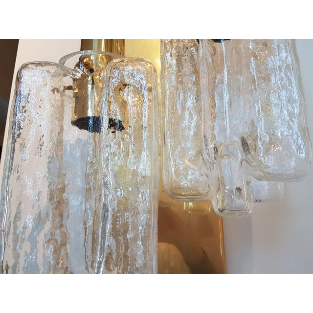 Brass Murano Glass Kalmar Brass Mid Century Modern 2-Lights Sconces - a pair For Sale - Image 7 of 9