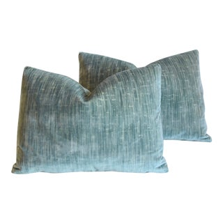 "Clarence House Velvet Fabric & Scalamandre Feather/Down Pillows 23"" X 16"" - Pair For Sale"