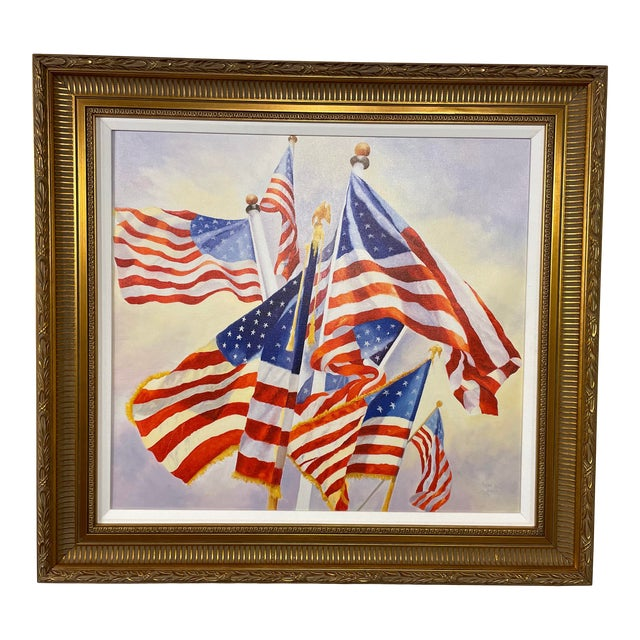 """""""Stars and Stripes"""" Contemporary American Flag Giclee by Debbie Hearle, Framed For Sale"""