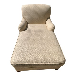 CR Laine Chaise in Quadrille Java Taupe on White For Sale