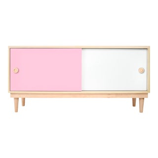 Nico & Yeye Luke Modern Kids Credenza Console Solid Maple and Maple Veneers Pink For Sale