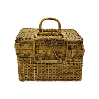 Antique French Wicker Hamper For Sale