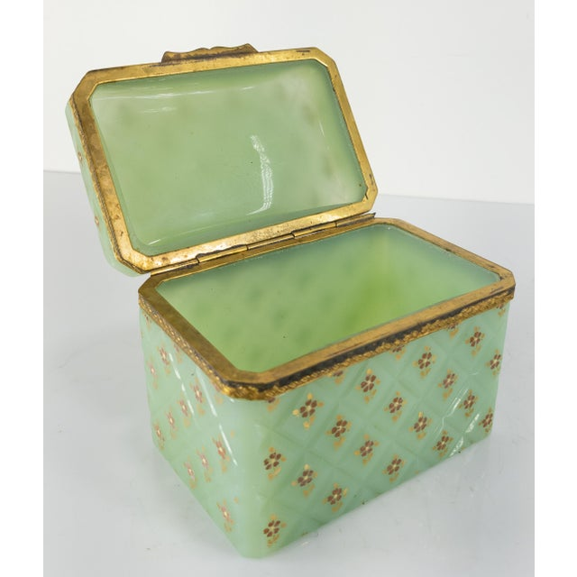 Metal French Bronze Mounted Celadon Green Opaline Trinket Box For Sale - Image 7 of 10