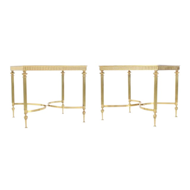 Pair of Brass Mirrored Frame Glass Top End Side Tables For Sale