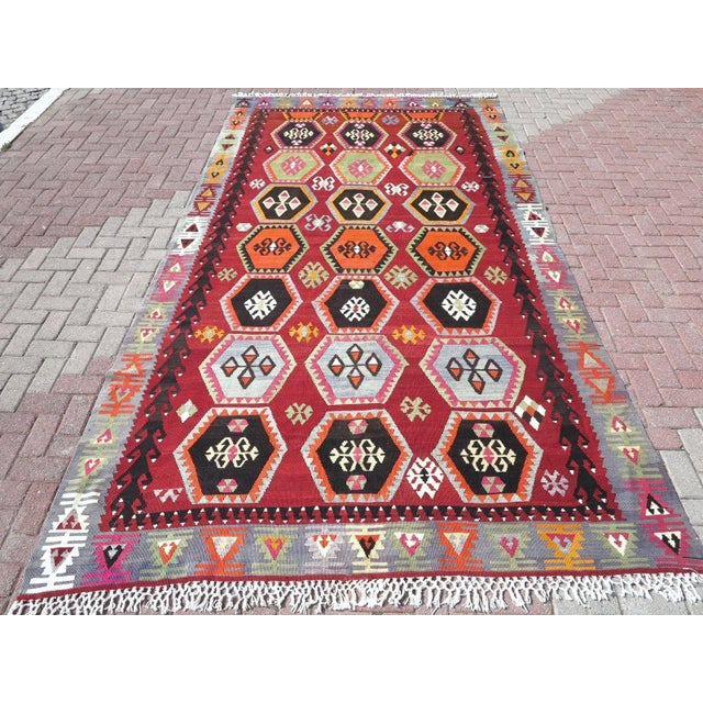 Vintage Turkish Kilim Rug - 6′6″ × 12′5″ - Image 2 of 10