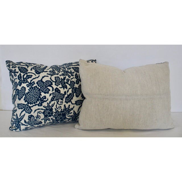 French French Blue Floral/Fauna Block Print Pillows - a Pair For Sale - Image 3 of 5