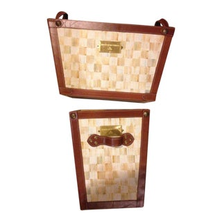 Mackenzie Childs Parchment Canvas & Leather Magazine Holders - A Pair For Sale