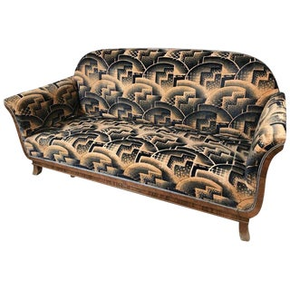 Glamorous Art Deco Sofa and Two Chairs Suite in Cotton Velvet, Italy, 1920s For Sale