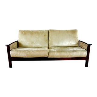 Contemporary Two Cushion Upholstered Wood Frame Sofa For Sale