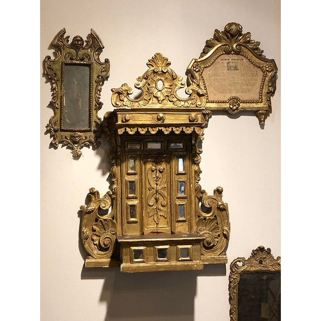 Religious 18th Century Alter Piece of Carved and Gilted Wood For Sale - Image 3 of 7