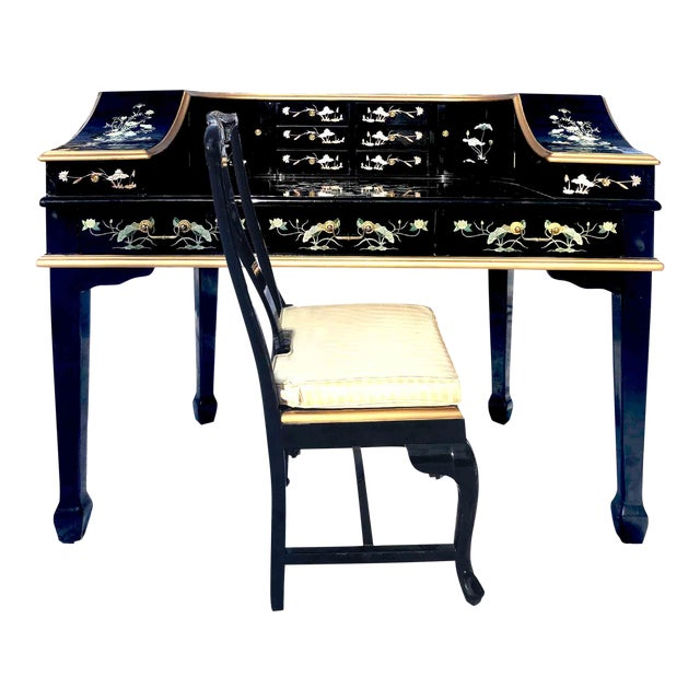 1990s Chinoiserie Carlton House Laquered Desk & Chair Set - 2 Pieces For Sale