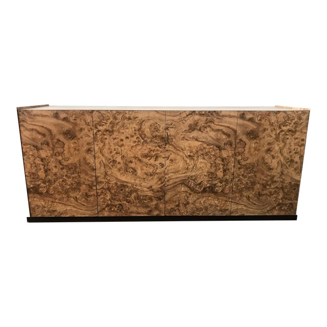 Paul Evans Style Faux Burl & Chrome Credenza For Sale - Image 4 of 10