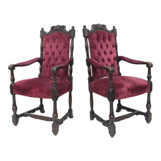 Pair Victorian Throne Chairs in Tufted Red Velvet For Sale