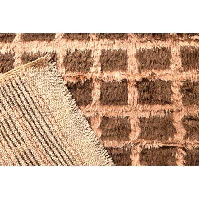 1950s Hand Knotted Vintage Tulu Rug Beige Brown Shag Pile Geometric Pattern For Sale - Image 5 of 6